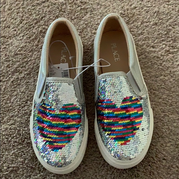 Other - Girls Flip Sequin Heart Metallic Slip on Sneaker